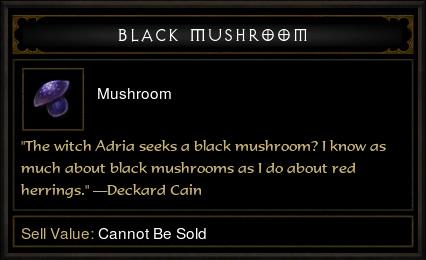Diablo 3 Black Mushroom tooltip