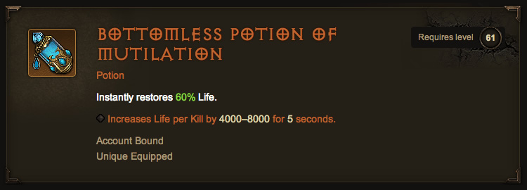 Legendary Bottomless Potion of Mutilation
