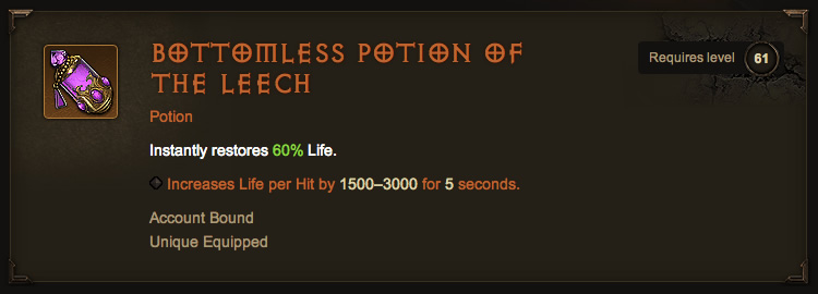 Legendary Bottomless Potion of the Leech